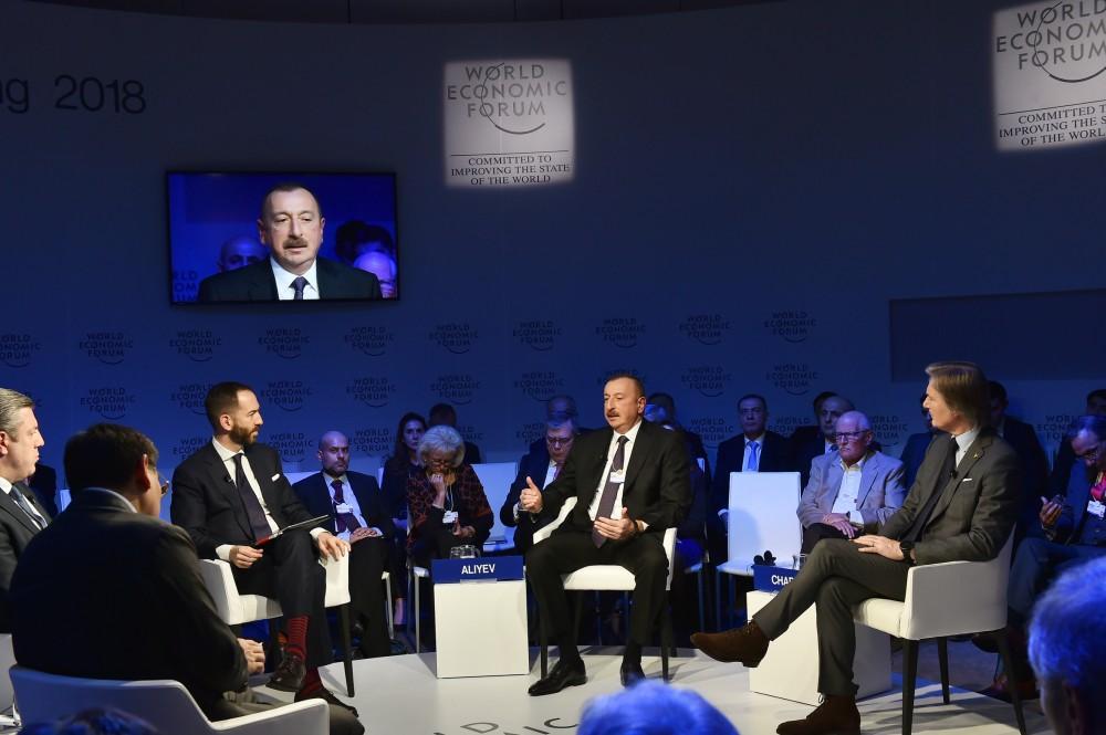 Президент Ильхам Алиев принял участие в интерактивном заседании на тему «Стратегический взгляд: Евразия» в рамках ВЭФ